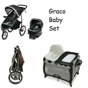 NEW Graco Baby Stroller Jogger Travel System, Car Seat, Playard Bassinet Set