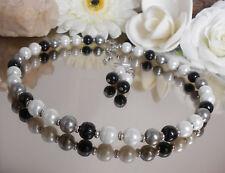 2er SET Glas Perlenkette / Collier gänzend schwarz weiß + Ohrhänger Edelstahl