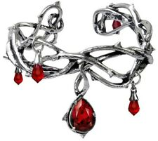 Passion Thorny Pewter Red Crystal Blood Droplets Alchemy Gothic Bracelet A80