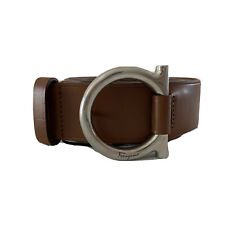Y-1495116 New Salvatore Ferragamo Brown Leather Gancini Belt Size 38 Fit 34-36