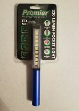 Blue Promier 9 LED Pocket Pen Light 220 Lumens Flashlight Magnetic Rotating Clip