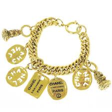Authentic CHANEL CC RUE CAMBON Bracelet Gold-tone Accessory Vintage 81ER867
