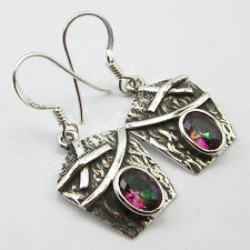 """Bohemian Jewelry Stores, 925 Pure Silver MYSTIC TOPAZ Gem ETHNIC Earrings 1.3"""""""