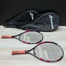 Lot of 2 Babolat Tennis Racquets Pink w/ Case Ja23 Racquet Rackets