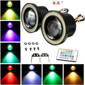 "1Set 3.5"" High Power RGB LED Fog Light with White COB Angel Eye Halo Ring"