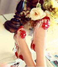 Womens Peep Toe Floral Clear Sandals Transparency Ankle Strap Wedge Heel Shoes