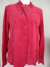 Outfit JPR Soft Suede Leather Red Lined Shirt Jacket - Women's L