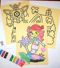 Sand art painting / Sensory Play 1 sheet 9 coloured sands included per sheet