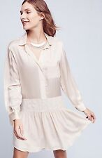 ANTHROPOLOGIE BY FLANNEL PEARL SILK DRESS SIZE 3 IVORY $428