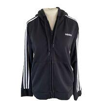 Adidas Womens Size Large Track Jacket Black White Stripe With Hood