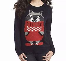 Ugly Christmas Sweater Jumper Women XL Jolt Raccoon in a Sweater