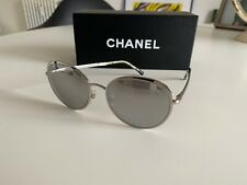 Original Chanel 16P Runde Sonnenbrille 4206 Silber Grün Fullset