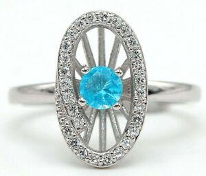 Top Quality 1CT Aquamarine & Topaz 925 Sterling Silver Ring Jewelry Sz 8 M9