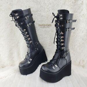 "Kera 200 Black Shin Shield Knee Boot 4.5"" Platform Goth Punk Rock Size 6-11 NY"
