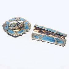 Beautiful Antique Italian 800 Silver Enamel Compact & Comb Set w/ Scene