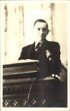 Preacher? At Pulpit w/ Microphone Amateur Real Photo Postcard c1920s-30s