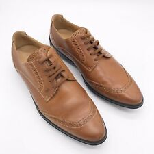 TOD'S Brown Leather Brogue Lace Up Oxfords Driving Shoes Womens Size 37 US 6.5