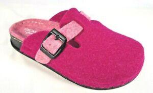 GRÜNLAND ciabatte pantofole BAMBINA SECK CI1095 fuxia rosa lana cotto fibbia