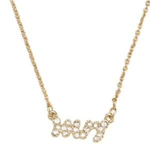 Kate Spade MRS Necklace Say Yes Pave 12k GP 17 inch Chain Frontal