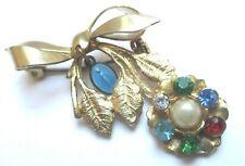 Bijou Vintage broche rétro fleur couleur or médaille religieuse émail bleu *103