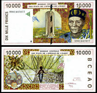 WEST AFRICAN STATES (WAS); IVORY COAST 10,000 10000 FRANCS 1999 P 114 ah AU-UNC