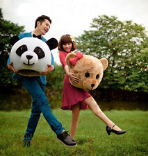 Adult Fancy Valentine Dress Christmas Head Panda & Teddy Bear Mascot Costume HOT