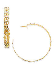 LK Designs Clutch Collection Large Gold Lace Scroll Swarovski Hoop Earrings