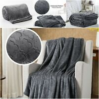 Large Faux Fur Fleece Bed Sofa Throw Single Double King Size Luxury Mink Blanket