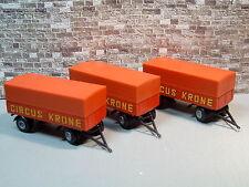 3x Brekina 5520 Circus Krone remorque pick-up Bâche P/P Caravane 2-AXE-remorque