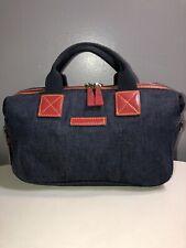 Vintage Dooney&Bourke Blue Denim Red Leather Trim Satchel