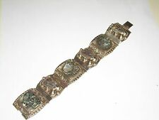 Vintage Sterling Carved Abalone Bracelet - Mid - Century Mexican - 53.2g