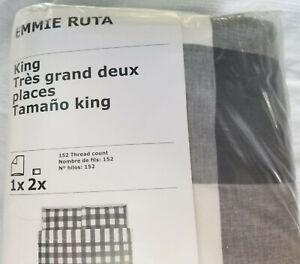 IKEA Emmie Ruta KING Duvet Cover w Pillowcases Set DARK GRAY Buffalo Check