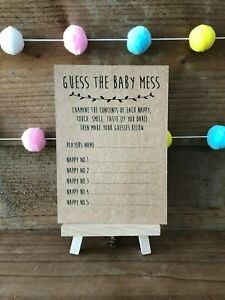 Baby Shower Guess the Mess Nappy Game, Activity, extra card pack x10 cards