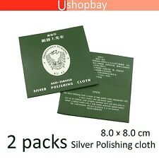 Silver Polishing Cloth x2 Jewellery Cleaning Anti-Tarnish Clean Polish Tool