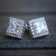 Cushion Cut Square Stud Earrings White Gold Plated Sterling Silver