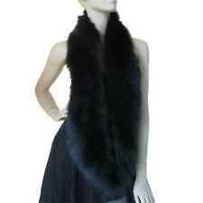 Winter Real Fox Fur Scarf Warm Soft Long Neckerchief Handmade Black