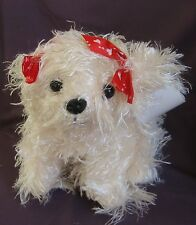 "FLUFFY DOG - Sml 18cm (7"") Super Soft Shaggy Blond Sitting Dog"