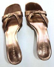 Nine & Co. 7.5 Dark Gold Crisscross Strap Leather High Heel Slip On Sandals