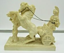 Roman Warrior Chariot Two Horse Faux Ivory Figure Vintage Stamped T.L.  P.A.T.