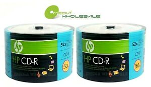 100 HP CD-R CDR Logo Top Discs Blank 52X 700MB 80MIN In ECO Spindle (Storage)