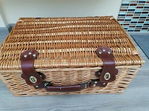 Hamper With Leather Straps Metal Hardware Meduim wicker ideal Xmas gift
