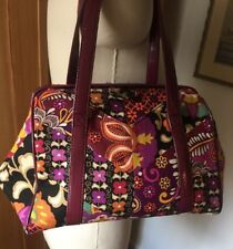 VERA BRADLEY Wine Hard Frame Shoulder Bag Purse in Suzani Patchwork - Retired