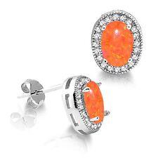 Oval Mexican Orange Fire Opal with Clear Gemstones Sterling Silver Stud Earrings