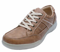 MENS TAN LACE-UP COMFY LIGHTWEIGHT SMART CASUAL WALKING TRAINER SHOES UK 6-12