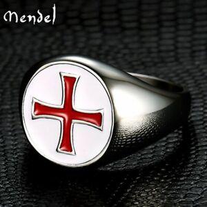 MENDEL Mens Knights Templar Crusader Red Cross Ring Masonic Stainless Steel Band