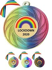 200 x BULK BUY PERSONALISED Lockdown Medal & Rainbow Ribbon