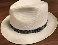 Stetson White Woven Short Brim Fedora w/ 2 Ribbons Size 7 3/8 59