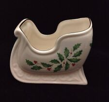 "Vintage Lenox Holiday Sleigh - 3 1/2"" - Mint! Gold Trim"