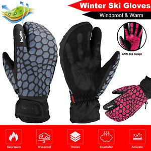 Men Women Winter Keep Warm Ski Gloves Snow Sports Thermal Three finger Mittens
