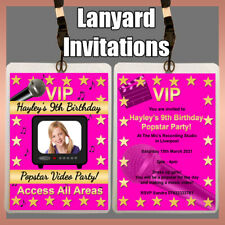 Personalised LANYARD Photo Invitation POPSTAR MUSIC VIDEO Birthday pop Party